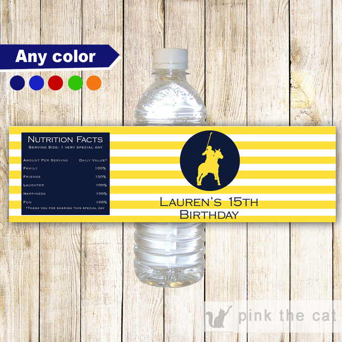 Polo blue yellow bottle label printable