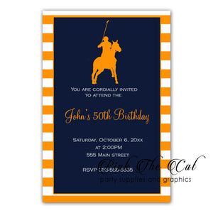 30 Polo invitations orange navy blue birthday baby shower