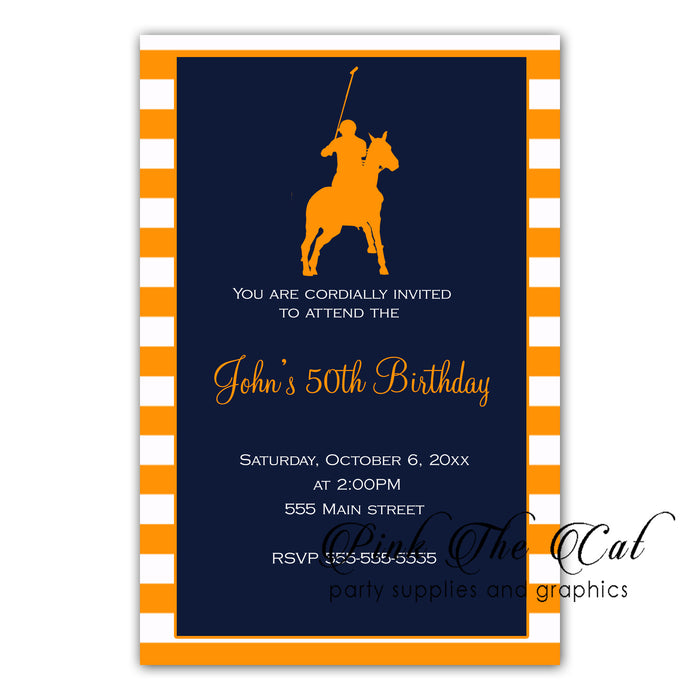 Polo invitations orange navy blue (set of 30)