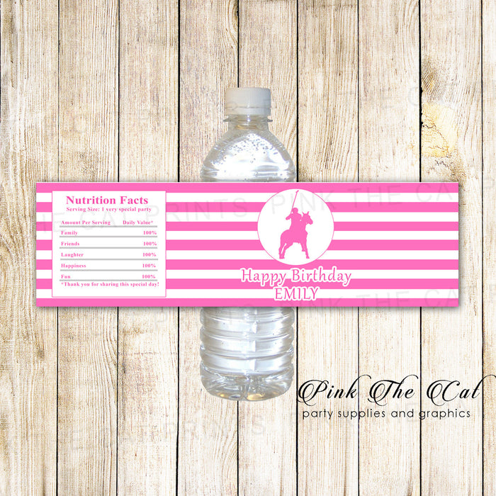 30 Bottle Labels Polo Bottle Label Birthday Baby Shower Pink White