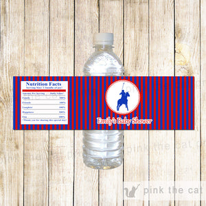 Bottle Labels Polo Red Blue Birthday Baby Shower