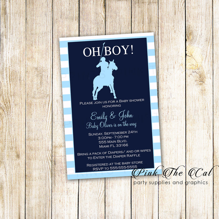 40 Polo Invitation Blue Stripes Boy Baby Shower