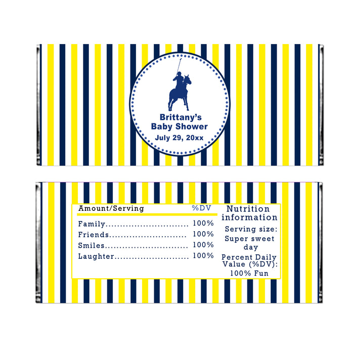 30 candy bar wrappers polo blue yellow stripes