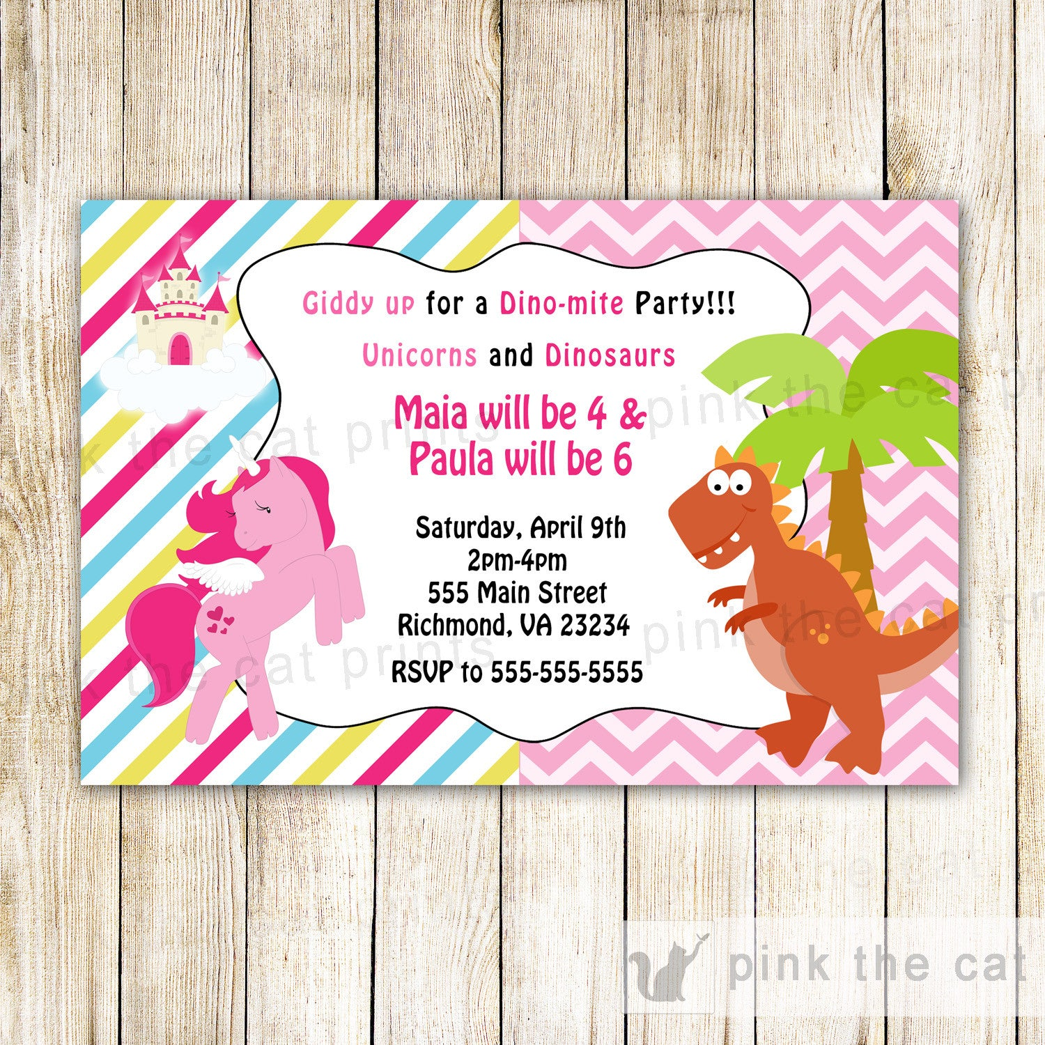 Unicorn Dinosaur Invitation Kids Birthday Party Pink The Cat