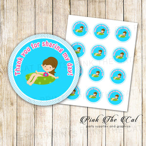 Pool Favor Label Summer Girl Kids Birthday Party Tags Printable