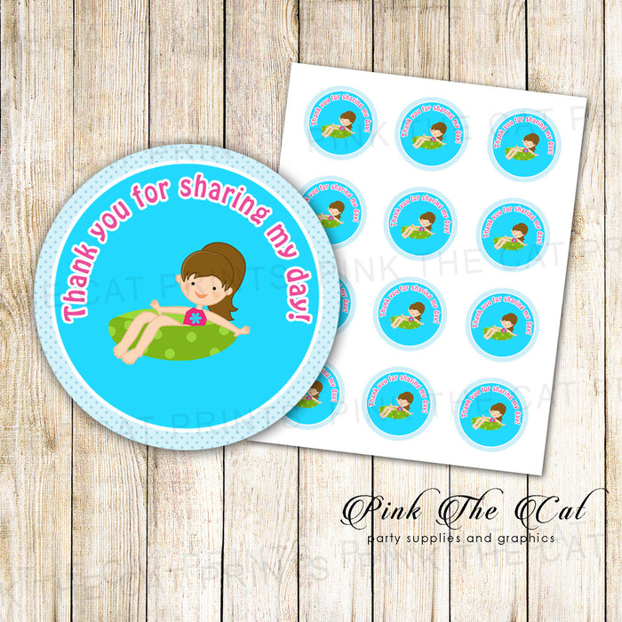 Pool Favor Label Summer Girl Kids Birthday Party Tags