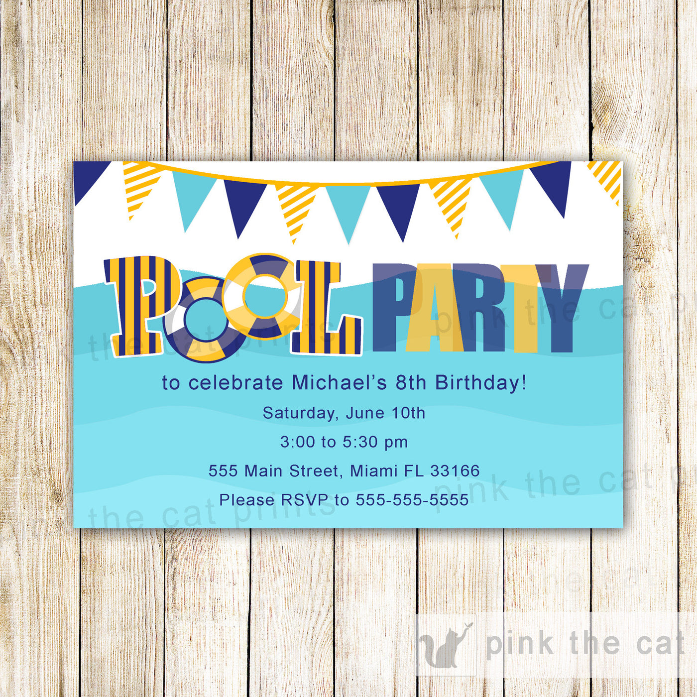 Pool Party Invitation Kids Birthday Party Girl Boy Adult -2547