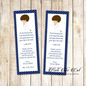 50 bookmarks boy praying communion blue personalized