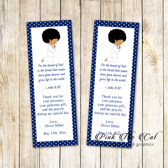 50 bookmarks boy praying communion blue 2