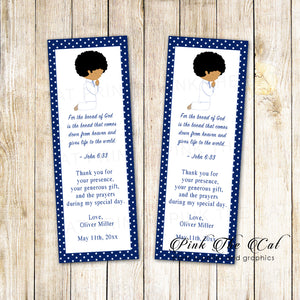 boy praying communion favors bookmarks blue african american