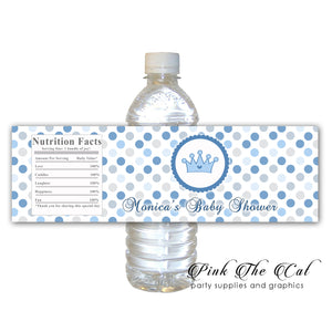 30 Prince blue gray bottle label stickers baby boy shower personalized