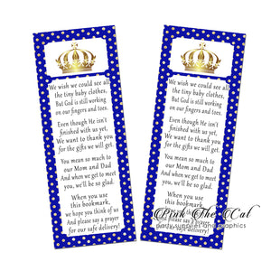 Prince royal blue gold bookmarks baby shower favors printable