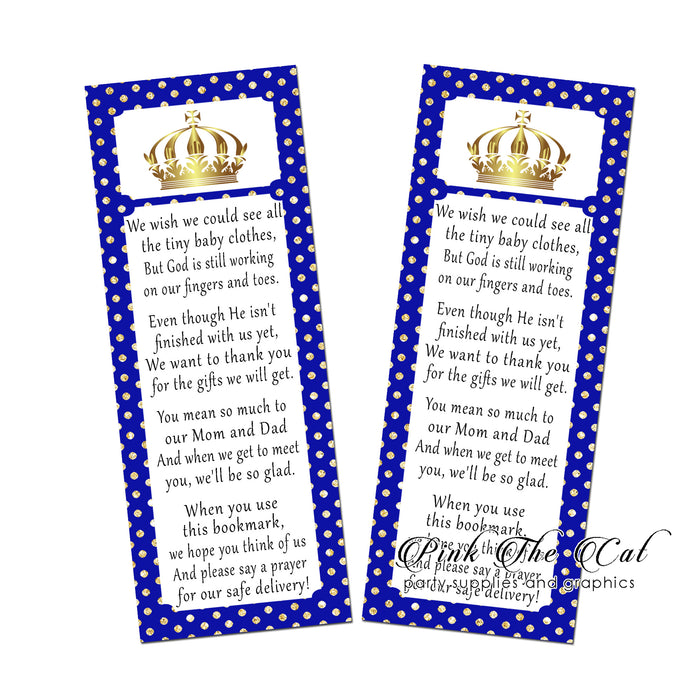 Prince royal blue gold bookmarks printable