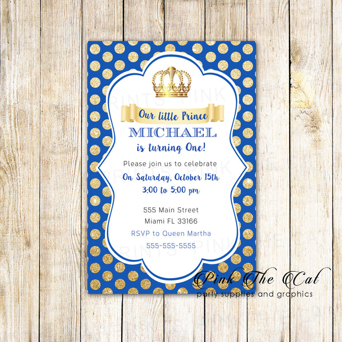30 Invitations Prince Royal Blue Gold Birthday Baby Shower
