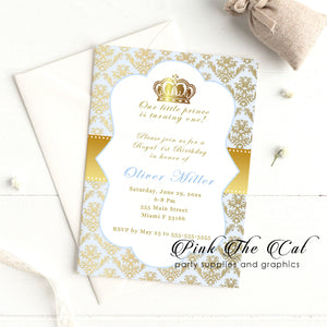 30 Prince gold light blue invitations birthday baby shower personalized