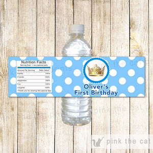 Bottle Labels Prince Gold Blue Birthday Baby Shower