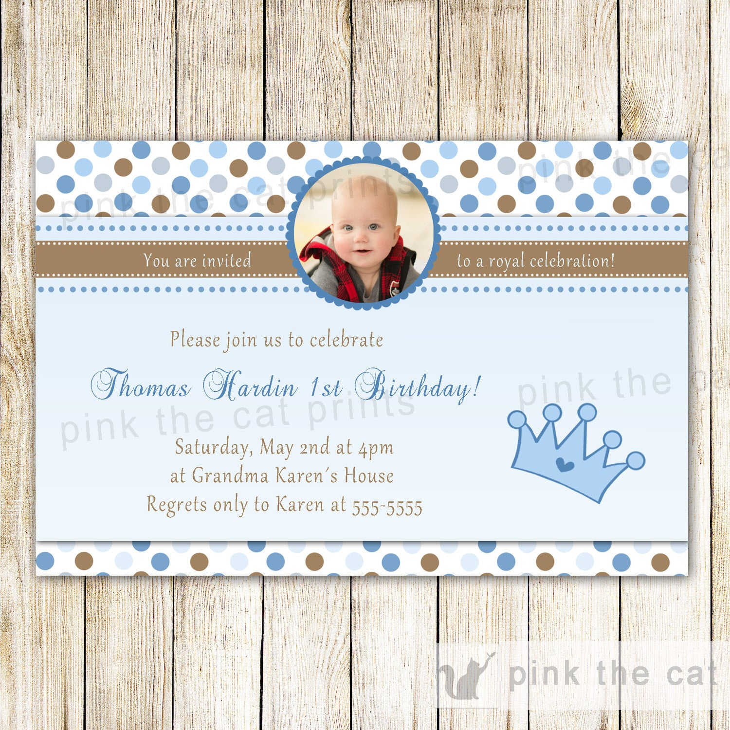 Prince Invitation Boy Birthday Party Blue Brown Polka Dots With ...
