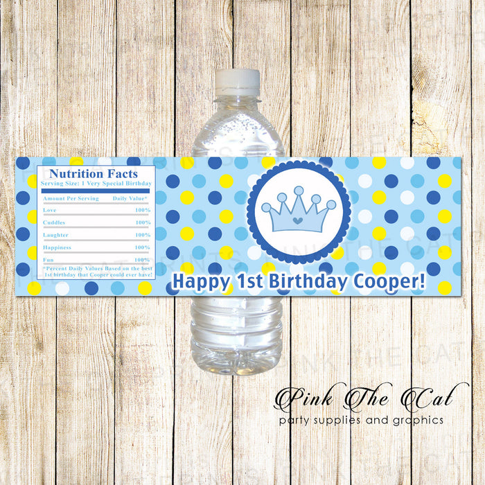 Prince Bottle Label Birthday Baby Shower Blue