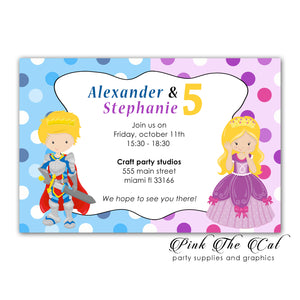 Prince princess invitations twins birthday personalized printable