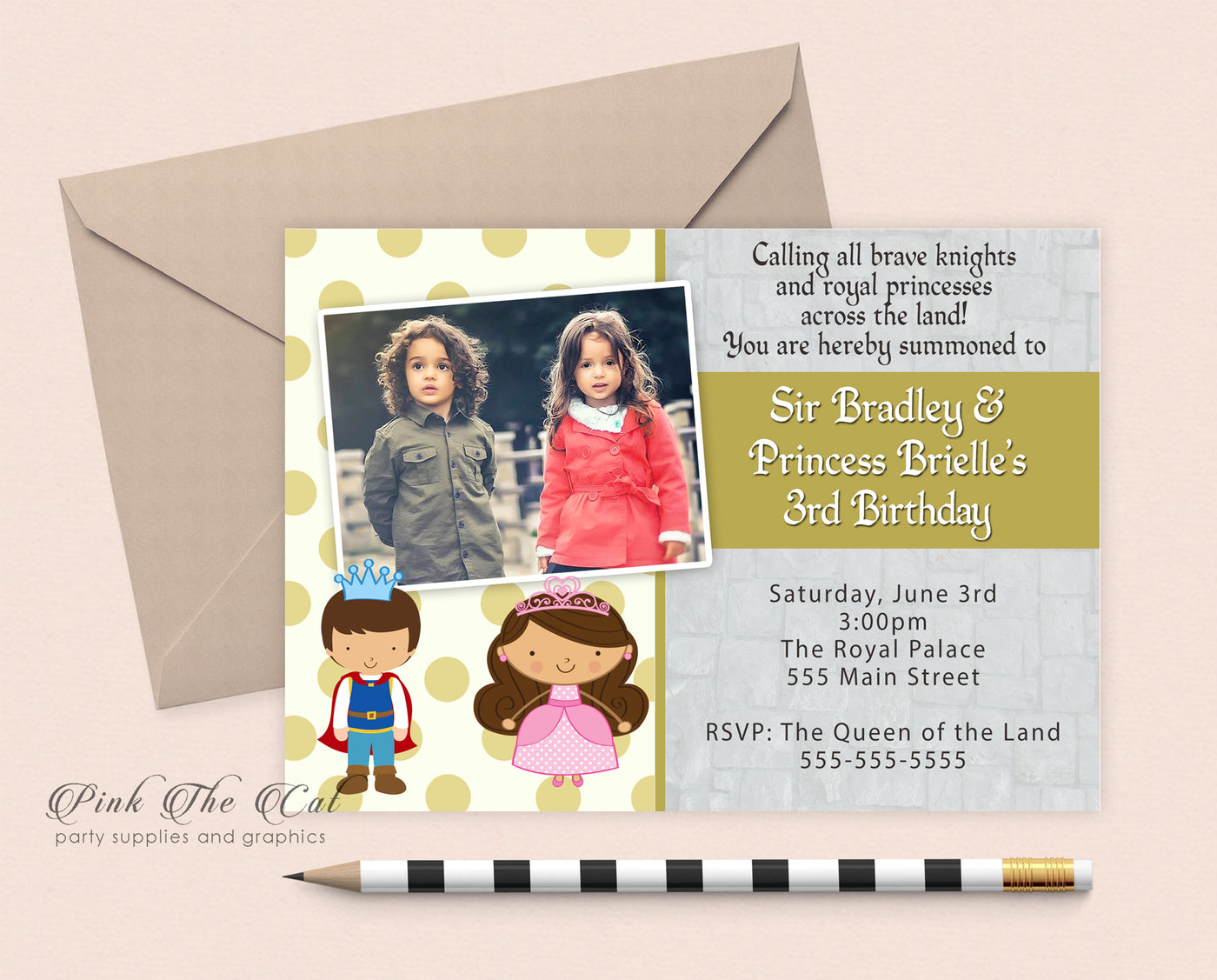 Knight Prince Princess Kids Birthday Invitation Printable
