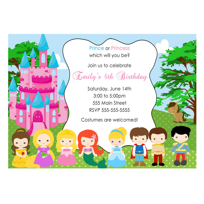 30 prince princess invitations photo paper