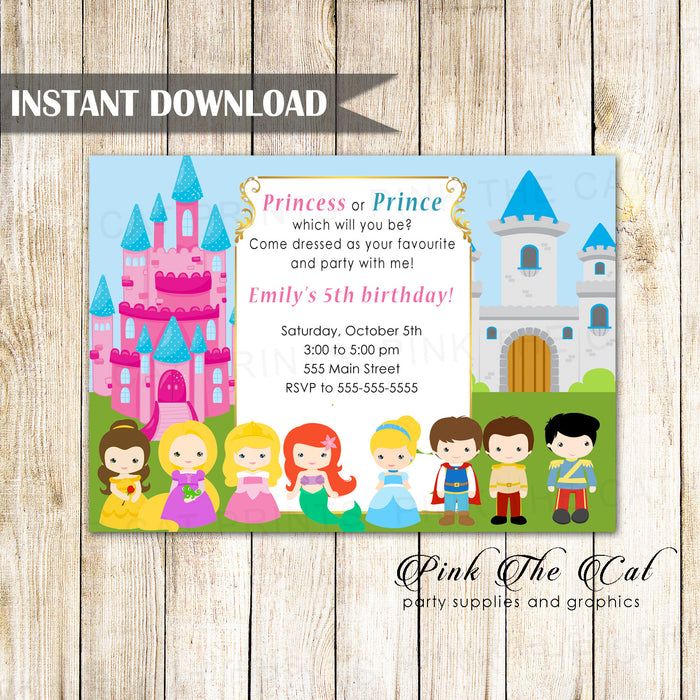 Prince Princess Kids Birthday Invitation Printable 2