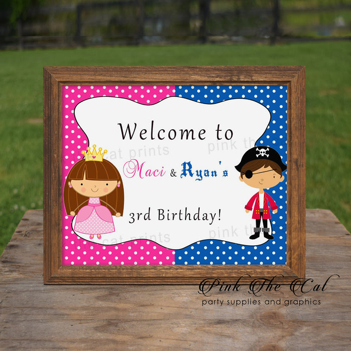 Pirate Princess Welcome Sign Kids Birthday Party Printable