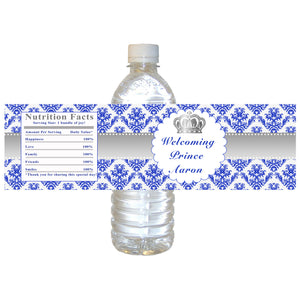 30 Prince silver royal blue bottle label birthday baby shower favors