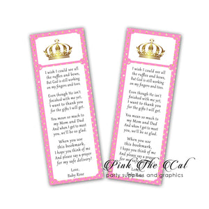 25 Princess bookmarks pink gold personalized baby shower favors