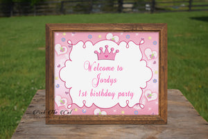 Princess Welcome Sign Birthday Baby Shower Butterflies Printable