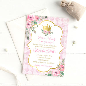 Princess invitations pink gold floral (set of 30)