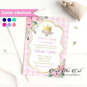 Princess invitations pink gold floral printable