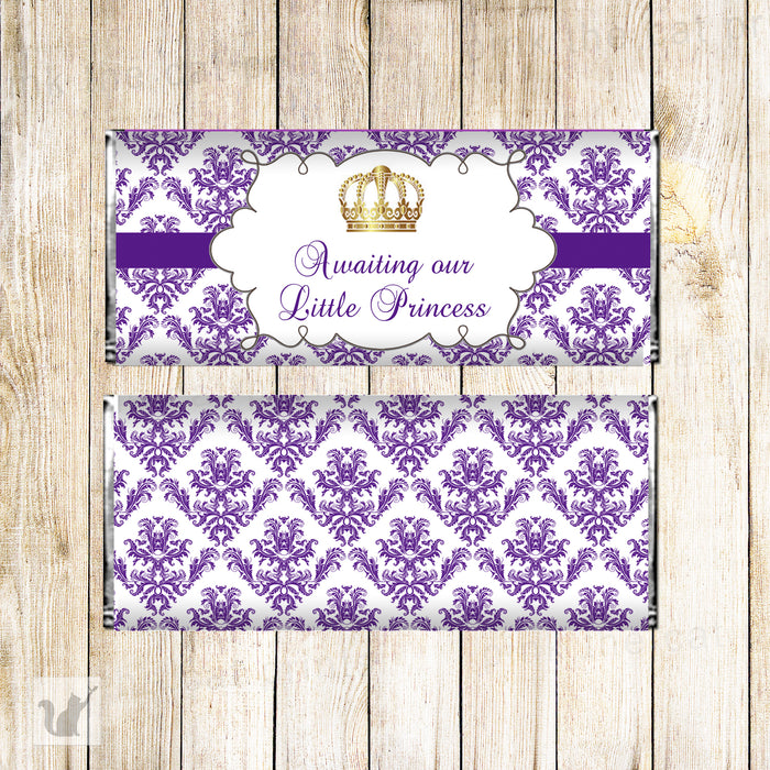 Princess candy bar purple gold printable