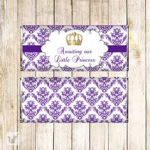 30 Princess candy bar labels wrappers purple gold baby shower favors