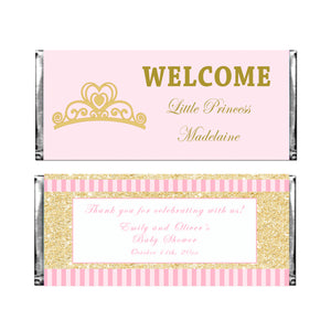 30 Candy bar wrappers princess pink gold
