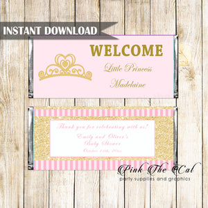 Candy bar wrappers princess pink gold printable