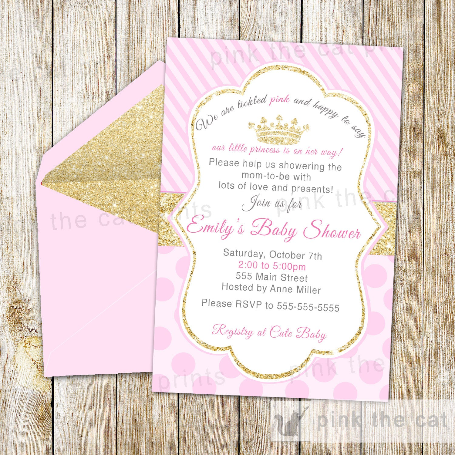 Princess Invitation Girl Birthday Party Baby Shower Pink Gold ...