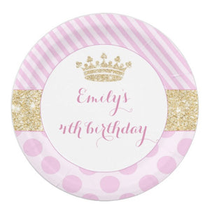 8 paper plates princess pink gold birthday baby shower