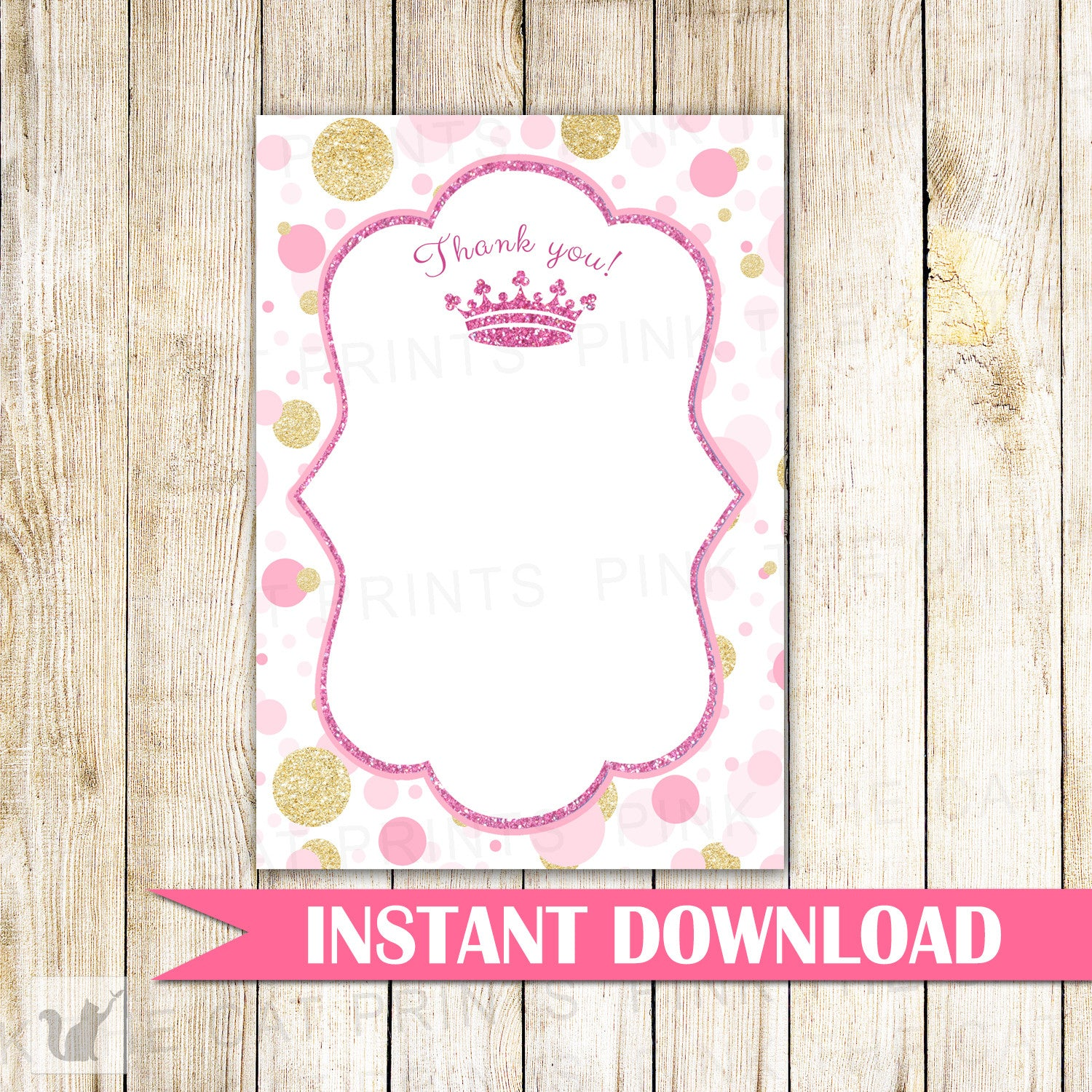 princess thank you card note pink gold confetti birthday baby shower