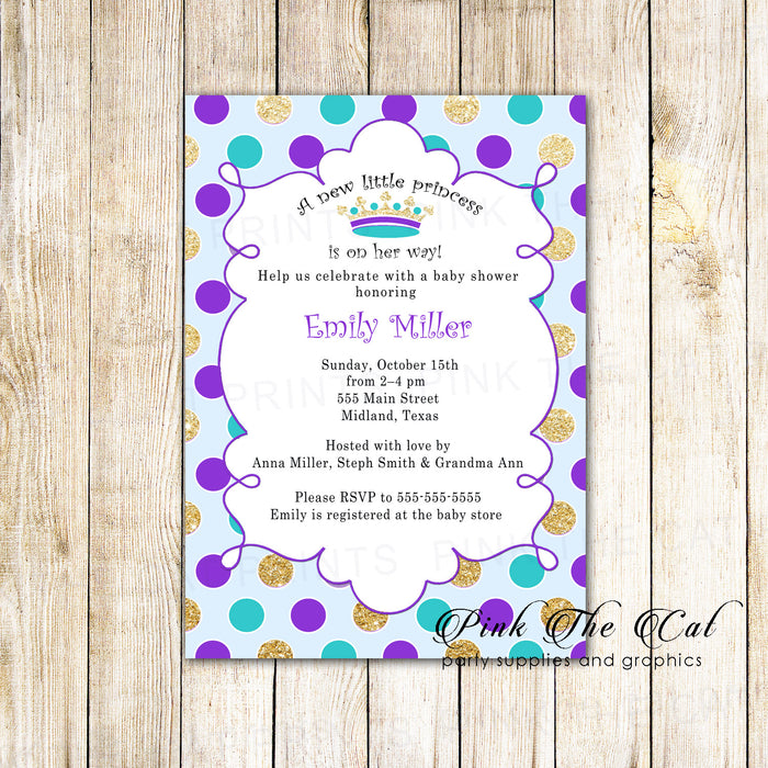30 Invitations Purple Teal Gold Princess Baby Shower Birthday