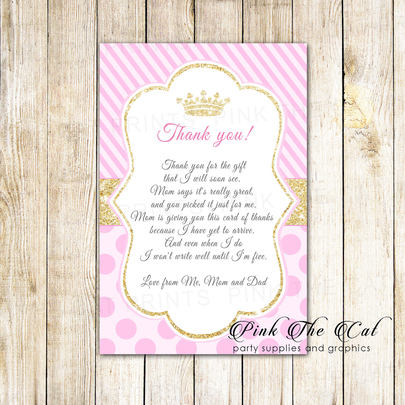 30 Princess Baby Shower Thank You Cards Pink Gold Personalized