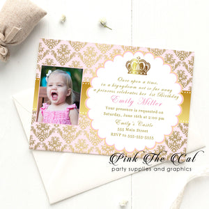 Princess invitatations pink gold photo girl birthday printable template