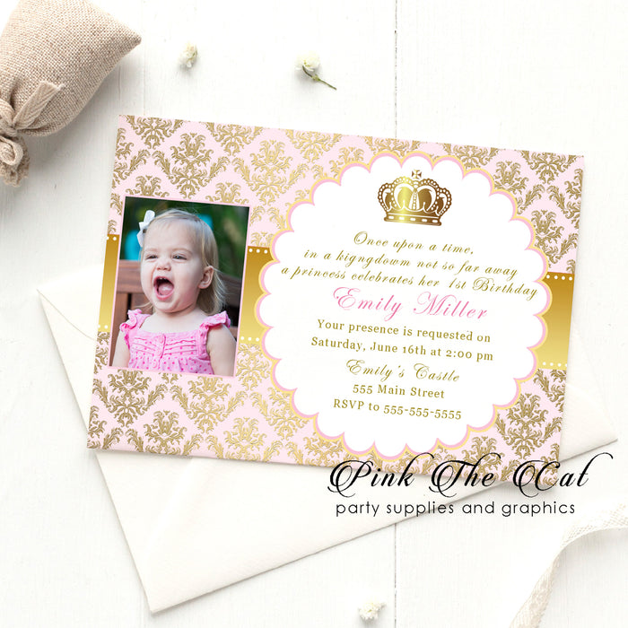 Princess invitatations pink gold w/photo printable