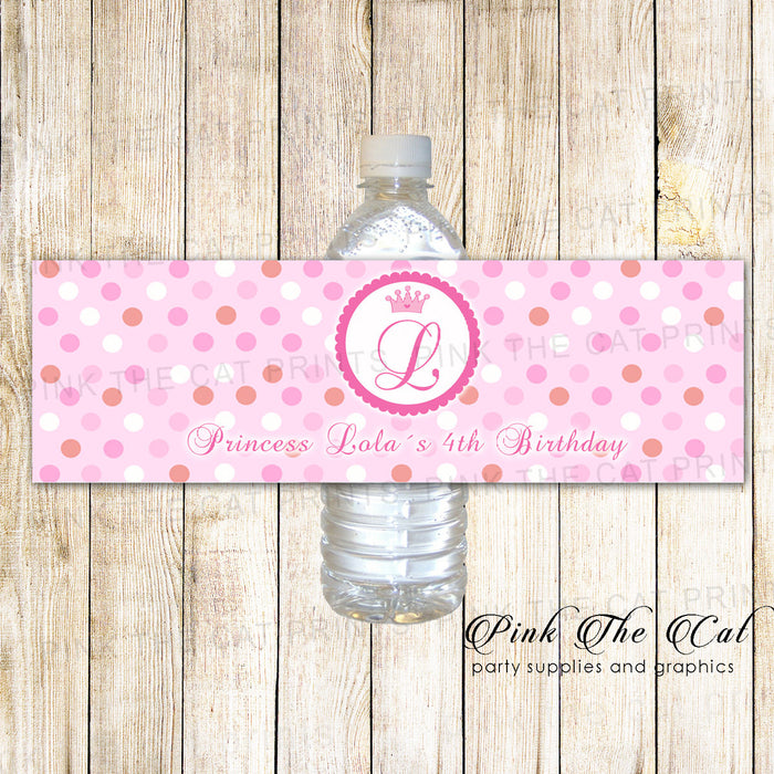 30 Bottle Labels Princess Birthday Baby Shower Pink