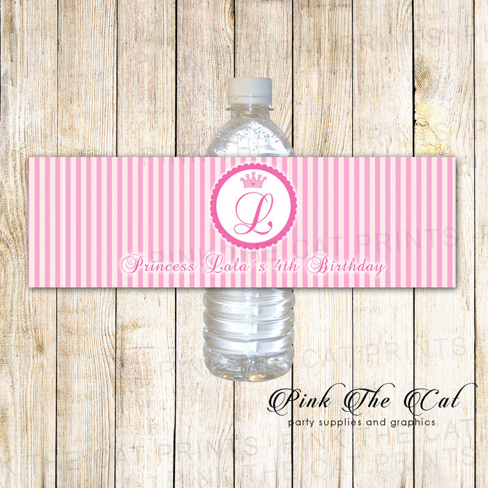 Princess Bottle Label Pink Stripes Birthday Baby Shower