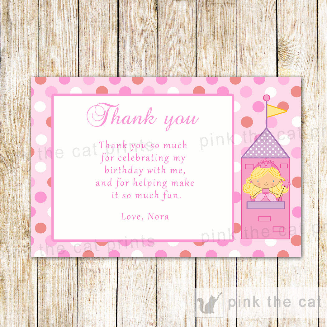 Princess Thank You Note Birthday Baby Shower