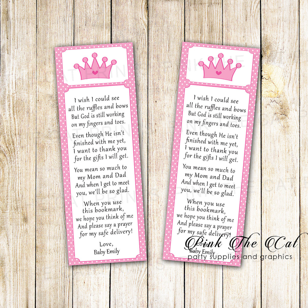 50 Printed Bookmarks Baby Shower Girl Pink Princess