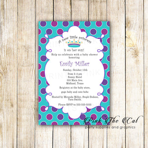 30 Invitations Purple Teal Princess Baby Shower Birthday