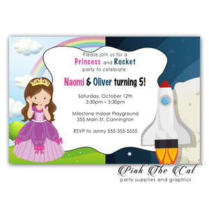 30 Princess rocket space ship invitations kids birthday personalized