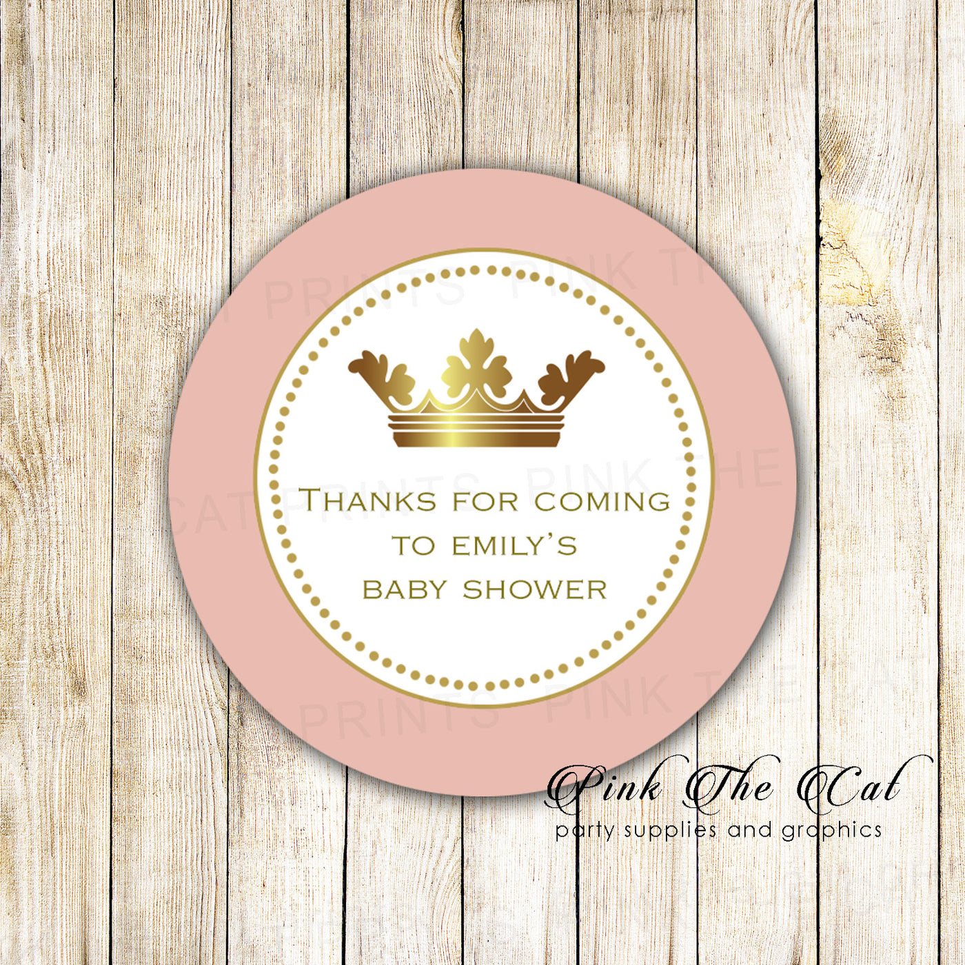 40 princess favor label stickers rose gold birthday baby shower